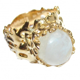 Fire Moonstone 18K Gold over .925 Sterling Silver handmade Ring size 8