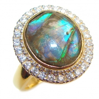 Pure Energy Genuine Canadian Ammolite 14K Gold over .925 Sterling Silver handmade ring size 6