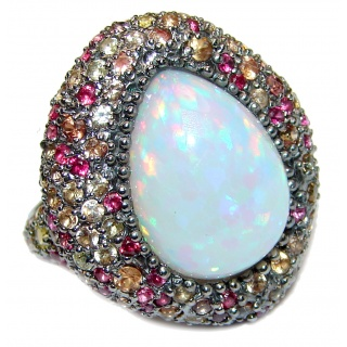 1000 STARS Ethiopian Opal .925 Sterling Silver handcrafted ring size 7 1/4