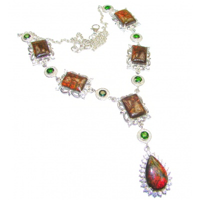 One of the kind Natural Canadian Ammolite Chrome Diopside .925 Sterling Silver handmade necklace