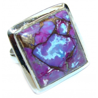 Huge Purple Turquoise .925 Sterling Silver handcrafted ring; s. 9 1/4