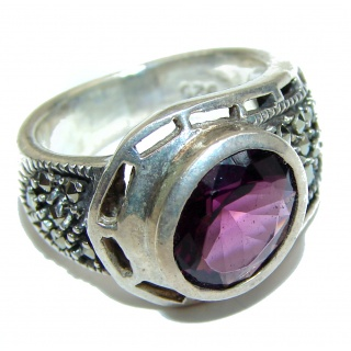 Spectacular genuine Raspberry Topaz .925 Sterling Silver handcrafted Ring size 6