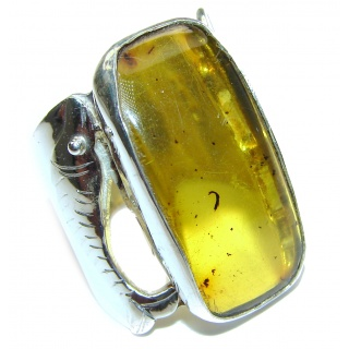 Huge Authentic Baltic Amber .925 Sterling Silver handcrafted ring; s. 9 3/4