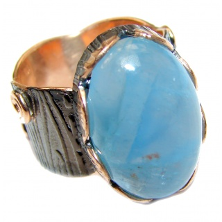 Spectacular genuine Aquamarine 18K Gold over .925 Sterling Silver handmade ring s. 8 adjustable