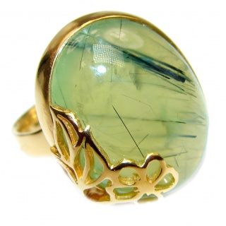 Natural Moss Prehnite 14K Gold over .925 Sterling Silver handmade ring s. 7 adjustable