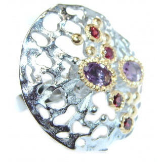 Spectacular Natural Amethyst 14k Gold over .925 Sterling Silver handcrafted ring size 6
