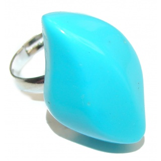 Lab. Blue Turquoise .925 Sterling Silver ring; s. 7 3/4
