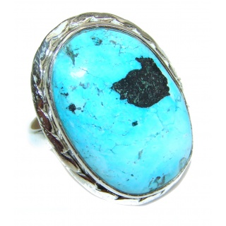 Turquoise .925 Sterling Silver handcrafted ring; s. 8 1/4