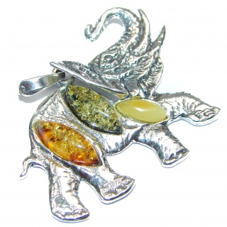Lucky Elephant Natural Baltic Amber .925 Sterling Silver handmade Pendant