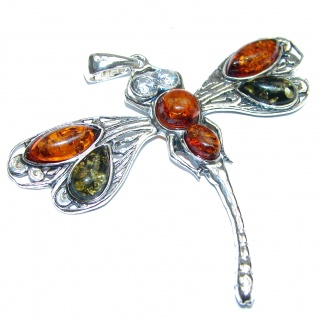 BIG Dragonfly Natural Baltic Amber .925 Sterling Silver handmade Pendant