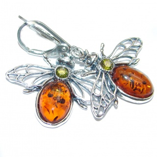 Big Fly Authentic Baltic Amber .925 Sterling Silver handmade Earrings