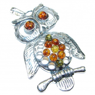 Huge Owl Natural Baltic Amber .925 Sterling Silver handmade Pendant