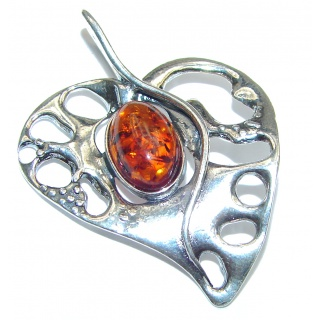 Apple's seeds Baltic Butterscotch Amber .925 Sterling Silver handmade Pendant