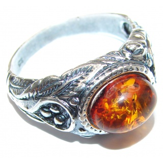 Genuine Baltic Amber .925 Sterling Silver handmade Ring size 9 1/2