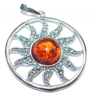 Aztec Sun natural Baltic Amber Sterling Silver handmade Pendant