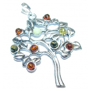 Family Tree Design Polish Amber .925 Sterling Silver handcrafted Pendant