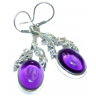 Vintage Beauty Genuine Amethyst .925 Sterling Silver handmade Earrings