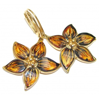 Masterpiece Genuine carved Baltic Amber 18K Gold over .925 Sterling Silver Earrings
