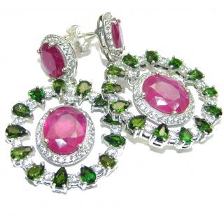Large Authentic Ruby Chrome Diopside .925 Sterling Silver handmade earrings