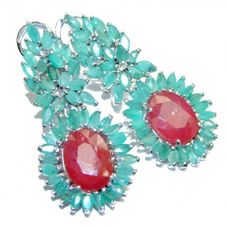 Stunning large Authentic Ruby Emerald .925 Sterling Silver handcrafted stud earrings
