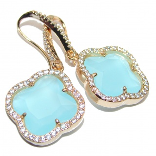 Classy Clover Aquamarine quartz 18K Gold over .925 Sterling Silver handcrafted earrings
