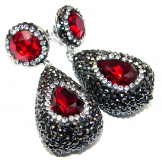 Huge Incredible Red Topaz Spinel .925 Sterling Silver handcrafted earrings