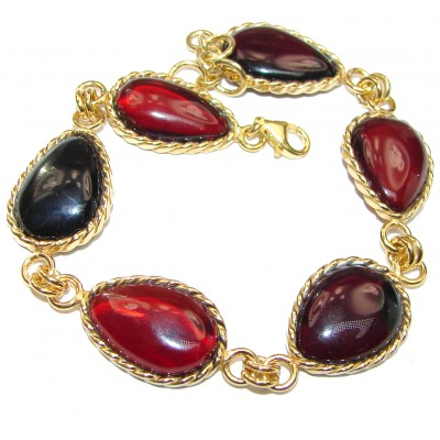 Beautiful authentic Cherry Baltic Amber 18K Gold over .925 Sterling Silver handcrafted Bracelet