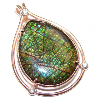 Rich Design genuine Canadian Ammolite 18K Gold over .925 Sterling Silver handcrafted Pendant