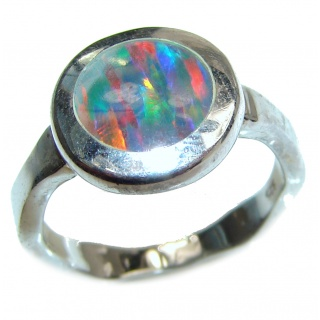 Australian Triplet Opal .925 Sterling Silver handcrafted ring size 8