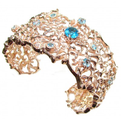 Red Reef Stunning genuine Swiss Blue Topaz 24K Gold over .925 Sterling Silver handcrafted Bracelet / Cuff
