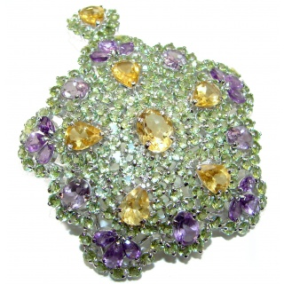 Luxury Large genuine Citrine Peridot Amethyst .925 Sterling Silver handmade Pendant - Brooch