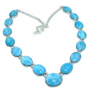 One of the kind Best quality AAAAA Larimar .925 Sterling Silver handmade necklace