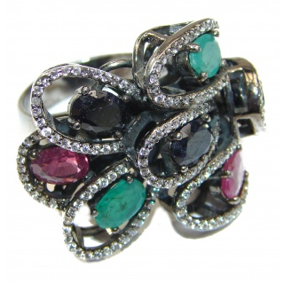 Victorian Style Emerald & White Topaz Copper over Sterling Silver ring; s. 8 1/4