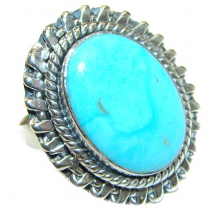 Sleeping Beauty Turquoise .925 Sterling Silver handcrafted ring; s. 7 adjustable