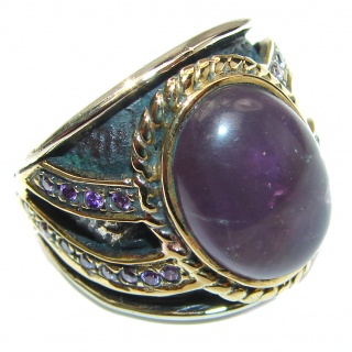 Vintage Style Natural Amethyst 14K Gold over .925 Sterling Silver handcrafted Ring s. 8 3/4