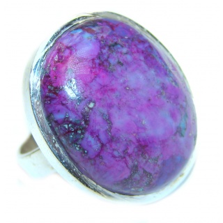 Huge Purple Turquoise .925 Sterling Silver handcrafted ring; s. 6