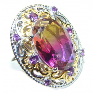 HUGE Oval cut BI-color Ametrine 14K Gold over .925 Sterling Silver handcrafted Ring s.7