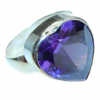 Sweet Heart Purple Heart Topaz .925 Silver handcrafted Ring s. 9