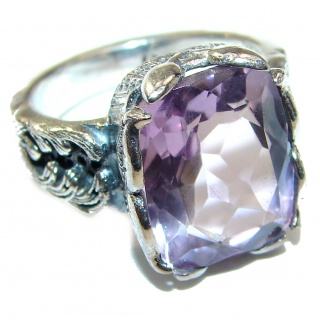 Spectacular genuine Pink Amethyst .925 Sterling Silver handcrafted Ring size 7