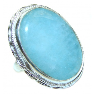 Huge Blue Aquamarine .925 Sterling Silver handmade ring s. 8