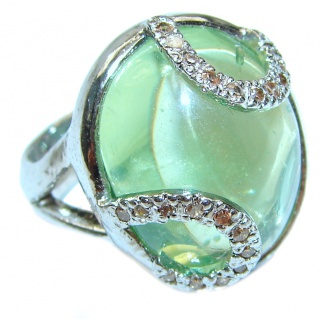 Natural Moss Prehnite .925 Sterling Silver handmade ring s. 6