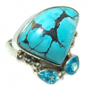 Turquoise .925 Sterling Silver handcrafted ring; s. 5 1/2