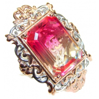Huge Top Quality Volcanic Pink Tourmaline color Topaz .925 Sterling Silver handcrafted Ring s. 8 1/4
