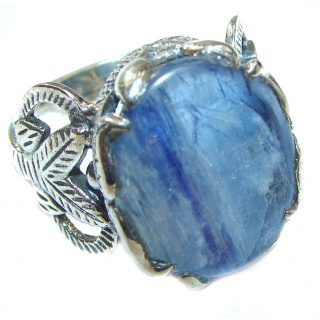 Huge Natural 26ct Kyanite .925 Sterling Silver handcrafted ring size 6