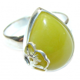 Natural Beauty Green Peruvian Opal .925 Sterling Silver ring s. 7 adjustable