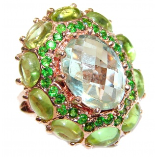 Huge Natural Green Amethyst 18K Gold over .925 Sterling Silver handcrafted ring size 8 1/4