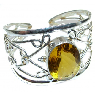 Huge Perfection Sunny Golden Topaz .925 Sterling Silver Bracelet / Cuff