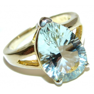 Spectacular Natural Green Amethyst 18K Gold over .925 Sterling Silver handcrafted ring size 5 1/2