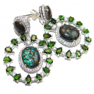 Incredible Canadian Fire Ammolite Chrome Diopside .925 Sterling Silver handmade earrings