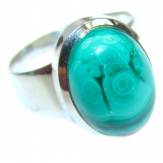 Natural Sublime quality Malachite .925 Sterling Silver handcrafted ring size 10
